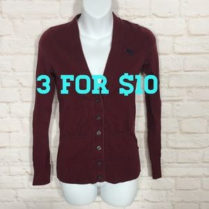 Abercrombie & Fitch maroon button up sweater XS